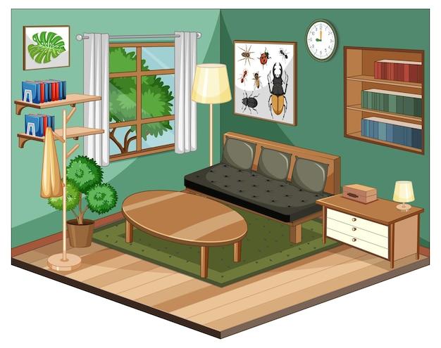 Woonkamerbinnenland met meubilair en groene muur