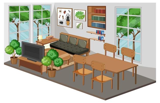 Woonkamerbinnenland met meubilair