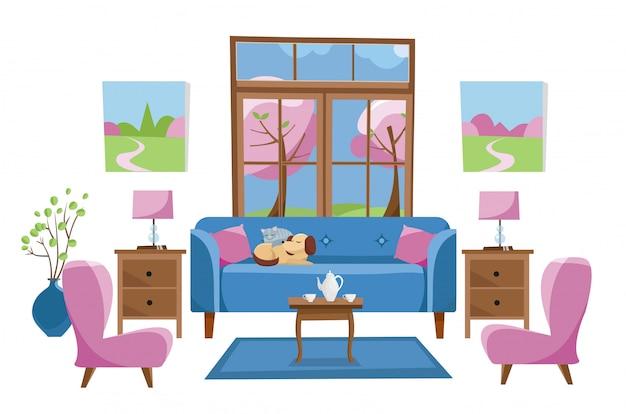 Woonkamermeubilair op witte achtergrond. blauwe bank met tafel in de kamer met groot raam. buiten voorjaar bomen.