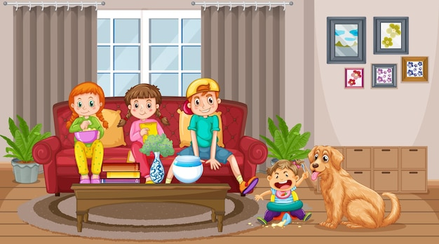 Woonkamerscène met veel kinderen en schattige hond