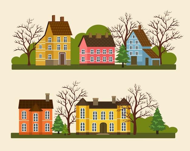 Woonwijk in de voorsteden in plat ontwerp