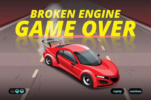 Woord in einde van sportgame racewagen