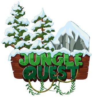 Woord jungle quest met sneeuw op bomen