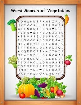 Woord kruiswoordraadsels vinden groenten voor kinderspelen