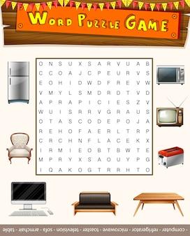 Woord puzzelspel met dingen in het huis