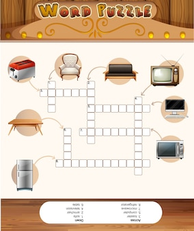Woord puzzelspel met objecten in het huis