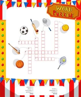 Woord puzzelspel met sport apparatuur