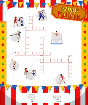 Woord puzzelspel met sport thema