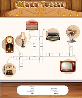 Woord puzzelspel met vintage objecten
