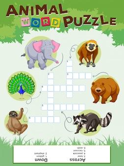 Woord puzzelspel met wilde dieren