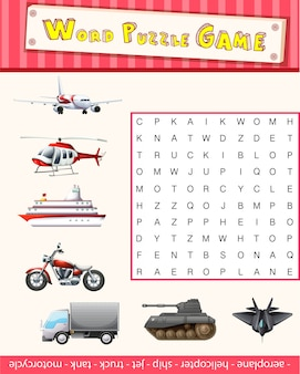 Woord puzzelspel sjabloon met transporten