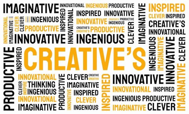 Woord van creatieve typografie, creatieve typografie tekst woord kunst vector marketing illustratie Premium Vector