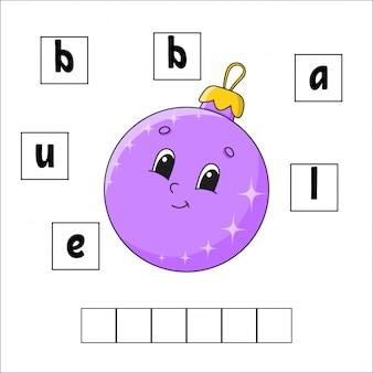 Woorden puzzel. onderwijs ontwikkelt werkblad. leerspel voor kinderen. activiteitspagina. puzzel voor kinderen.