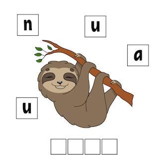 Woorden puzzel. werkblad voor het ontwikkelen van onderwijs. leerspel voor kinderen.