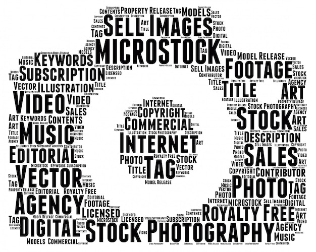 Woorden wolk microstock-concept, cameravorm.