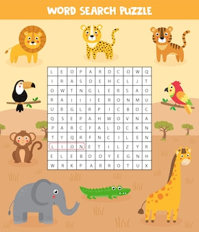 Woorden zoeken puzzel voor kinderen. set van safari dieren.