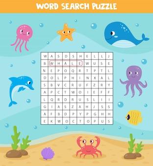 Woorden zoeken puzzel voor kinderen. set van zeedieren.