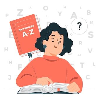 Woordenboek concept illustratie