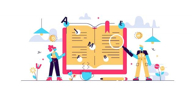 Woordenboek illustratie. kleine vertaling boek personen concept.