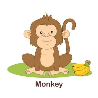 Woordenschat flash card voor kinderen. aap met afbeelding van aap (woordenschat voor erk: a1-a2 niveau)