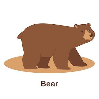 Woordenschat flash card voor kinderen. beer met afbeelding van beer (woordenschat voor erk: a1-a2 niveau)