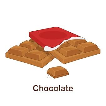 Woordenschat flash card voor kinderen. chocolade met afbeelding van chocolade