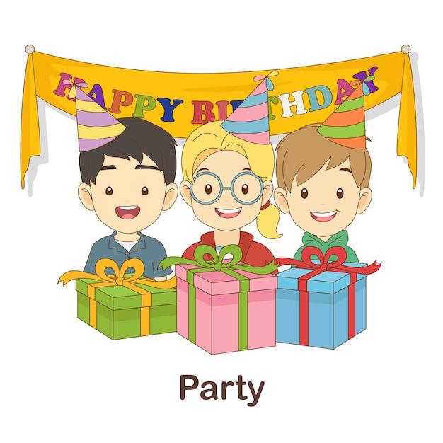 Woordenschat flash card voor kinderen. feest met foto van feest Premium Vector