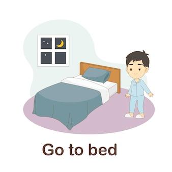 Woordenschat flash card voor kinderen. ga naar bed met foto ga naar bed