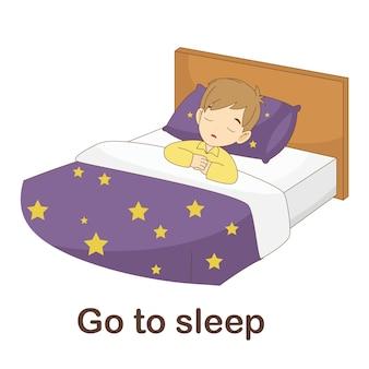Woordenschat flash card voor kinderen. ga slapen met foto ga slapen