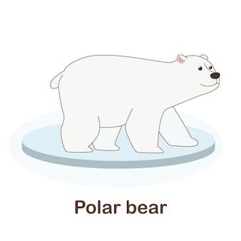Woordenschat flash card voor kinderen. ijsbeer met afbeelding van ijsbeer (woordenschat voor erk: a1-a2 niveau)