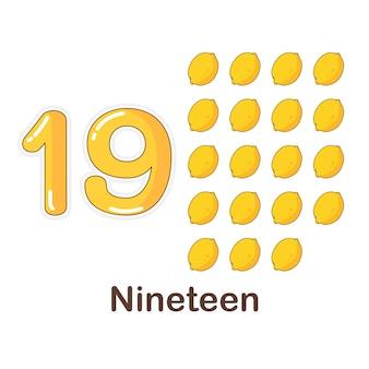 Woordenschat flash card voor kinderen. negentien tot met foto negentien