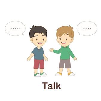 Woordenschat flash card voor kinderen. praten met met beeld praten