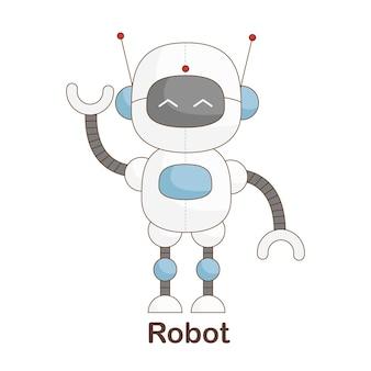 Woordenschat flash card voor kinderen. robot met afbeelding van robot
