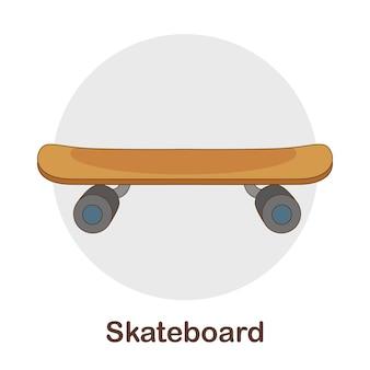 Woordenschat flash card voor kinderen. skateboard met afbeelding van skateboard Premium Vector