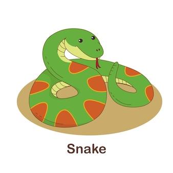 Woordenschat flash card voor kinderen. slang met afbeelding van slang (woordenschat voor erk: a1-a2 niveau)
