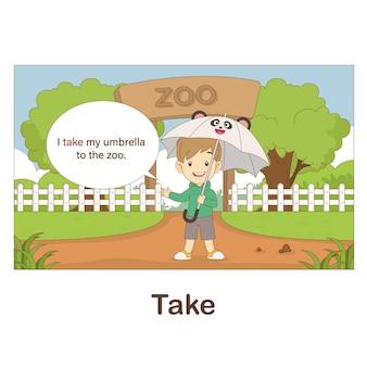 Woordenschat flash card voor kinderen. take with picture of take (woordenschat voor erk: a1-a2 niveau)