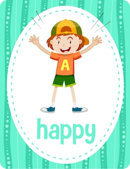 Woordenschat flashcard met woord happy