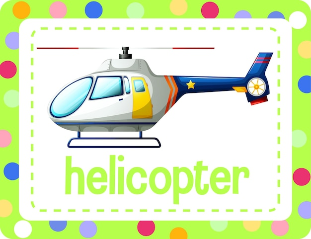 Woordenschat flashcard met woord helikopter