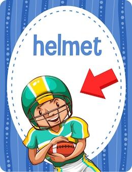 Woordenschat flashcard met woord helmet