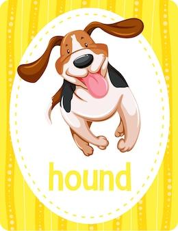 Woordenschat flashcard met woord hound