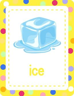 Woordenschat flashcard met woord ice