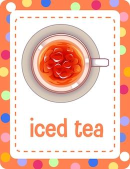 Woordenschat flashcard met woord iced tea