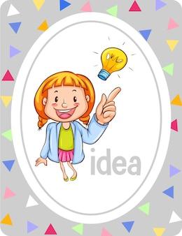 Woordenschat flashcard met woord idee