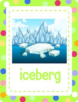 Woordenschat flashcard met woord ijsberg