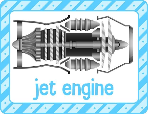 Woordenschat flashcard met woord jet engine