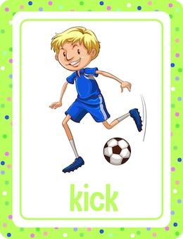 Woordenschat flashcard met woord kick