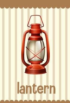 Woordenschat flashcard met woord lantaarn