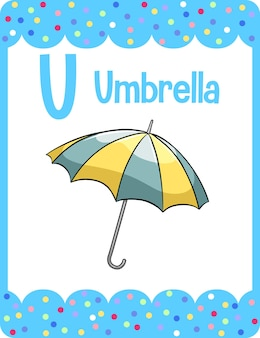 Woordenschat flashcard met woord paraplu