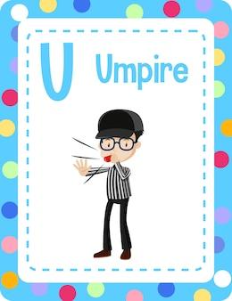 Woordenschat flashcard met woord umpire