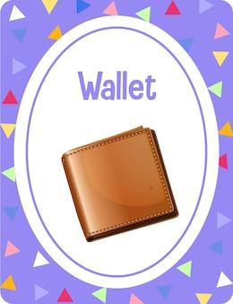 Woordenschat flashcard met woord wallet